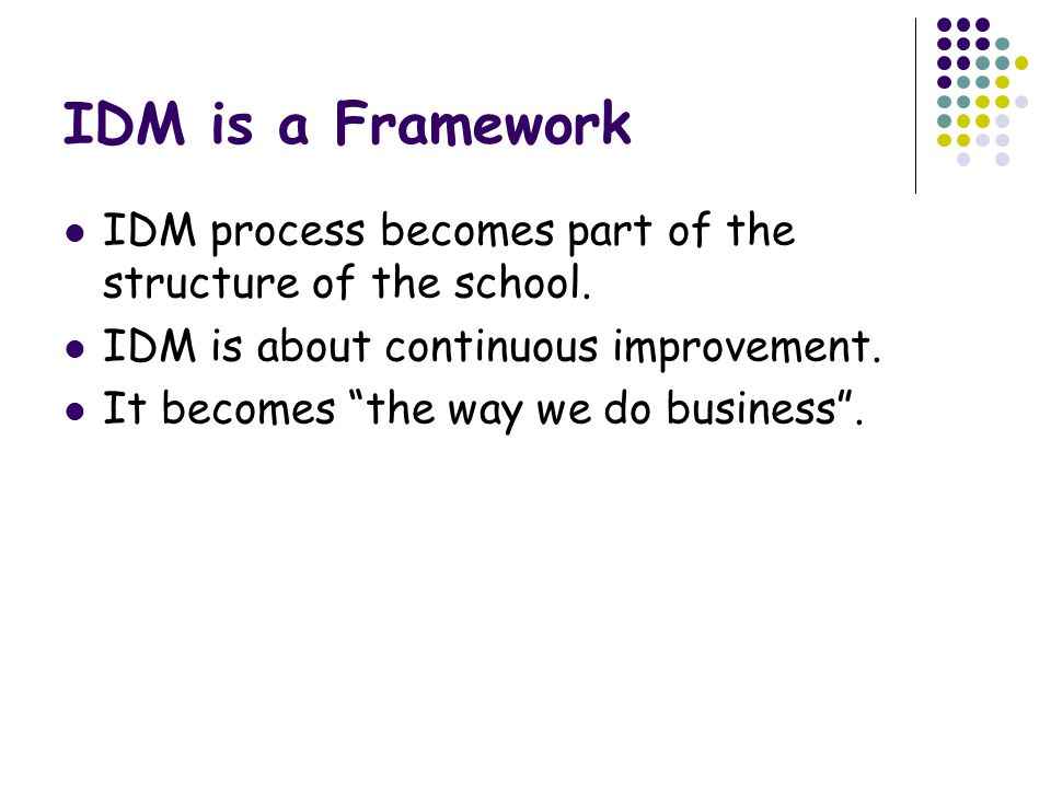 IDM is a Framework IDM process becomes part of the structure of the school. IDM is about continuous improvement.