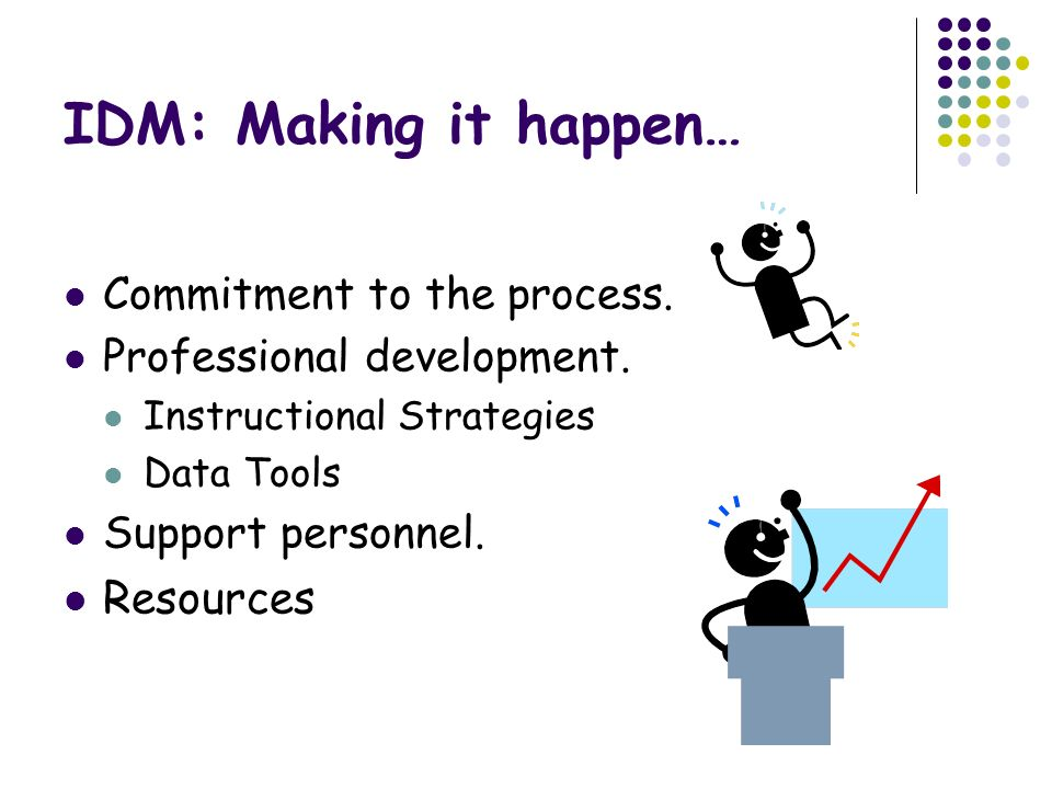 IDM: Making it happen… Resources Commitment to the process.