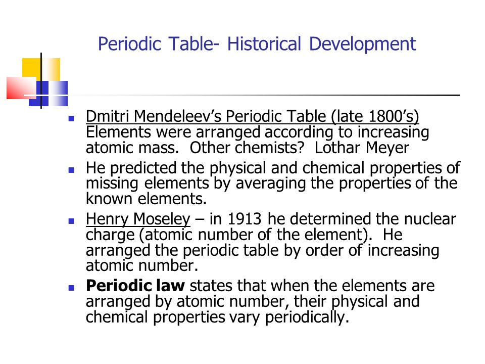 Periodic table chapter 6 ppt video online download 3 periodic table historical development dmitri mendeleevs periodic table late 1800s elements were arranged according to increasing atomic urtaz Images