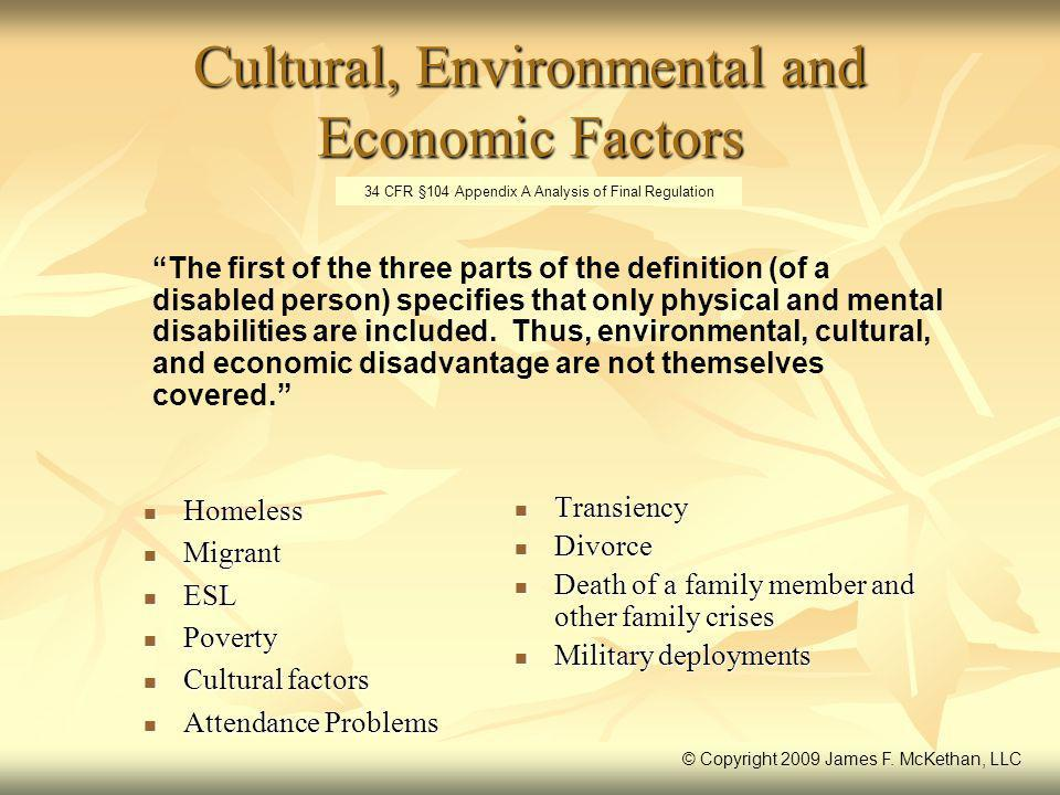 Cultural, Environmental and Economic Factors