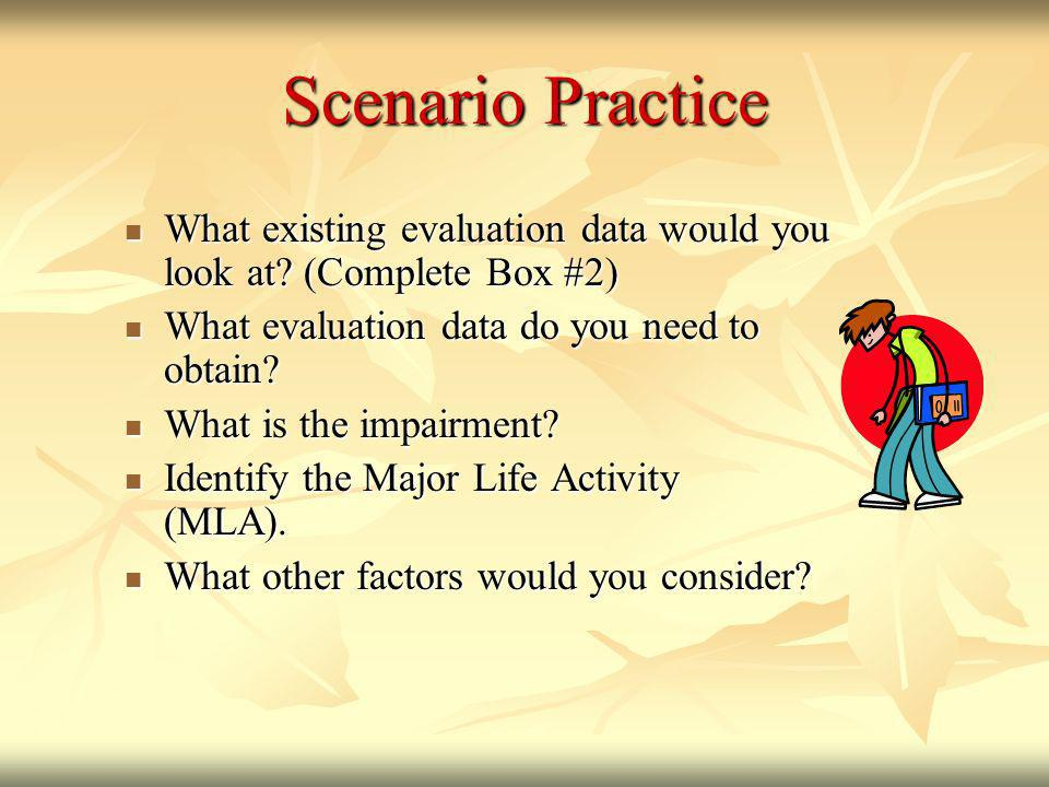Scenario Practice What existing evaluation data would you look at (Complete Box #2) What evaluation data do you need to obtain