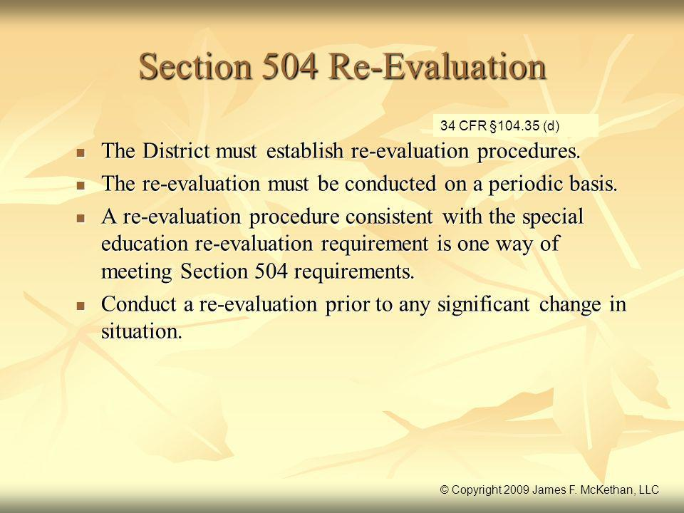 Section 504 Re-Evaluation