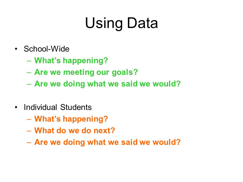 Using Data School-Wide What's happening Are we meeting our goals