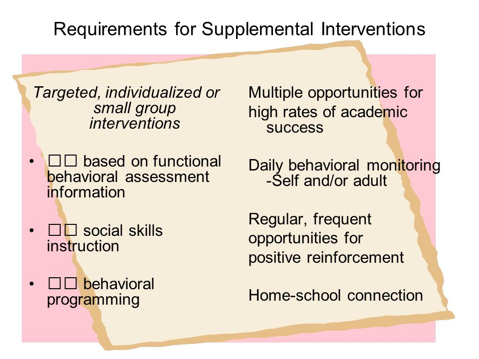 Requirements for Supplemental Interventions