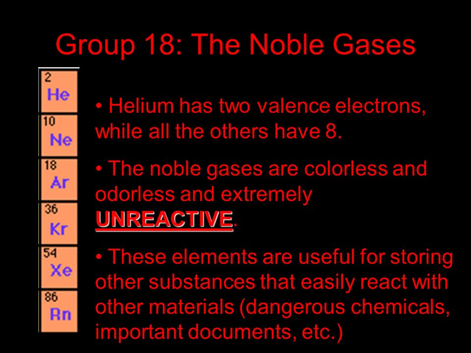 Group 18: The Noble Gases Helium has two valence electrons, while all the others have 8.