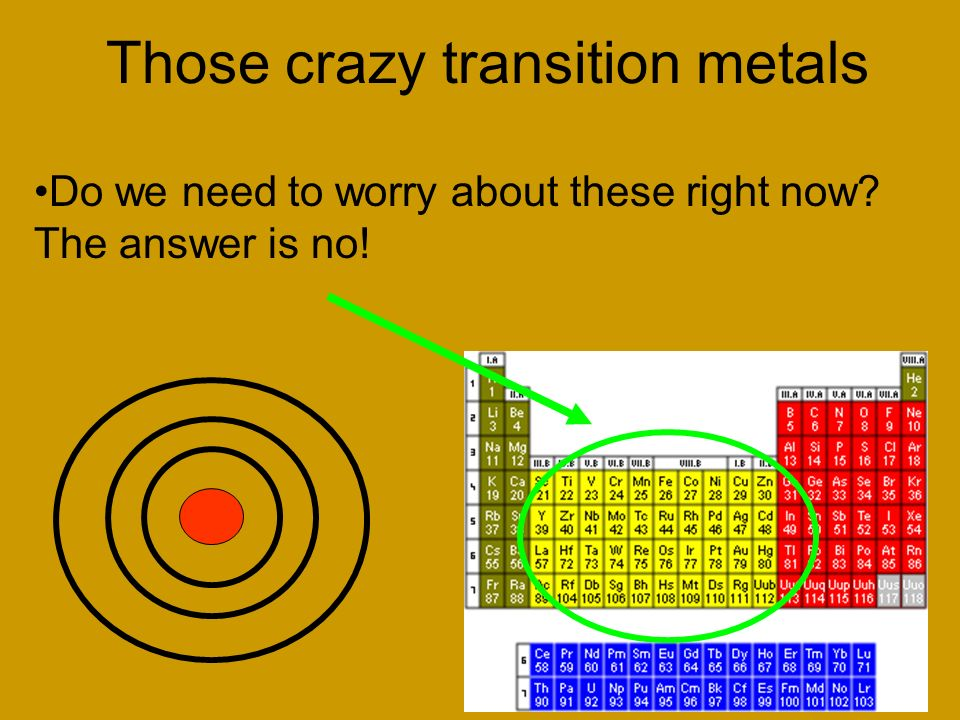 Those crazy transition metals
