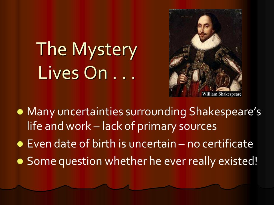 """William shakespeare """"the bard"""" april 23, 1564 – april 23, ppt download."""