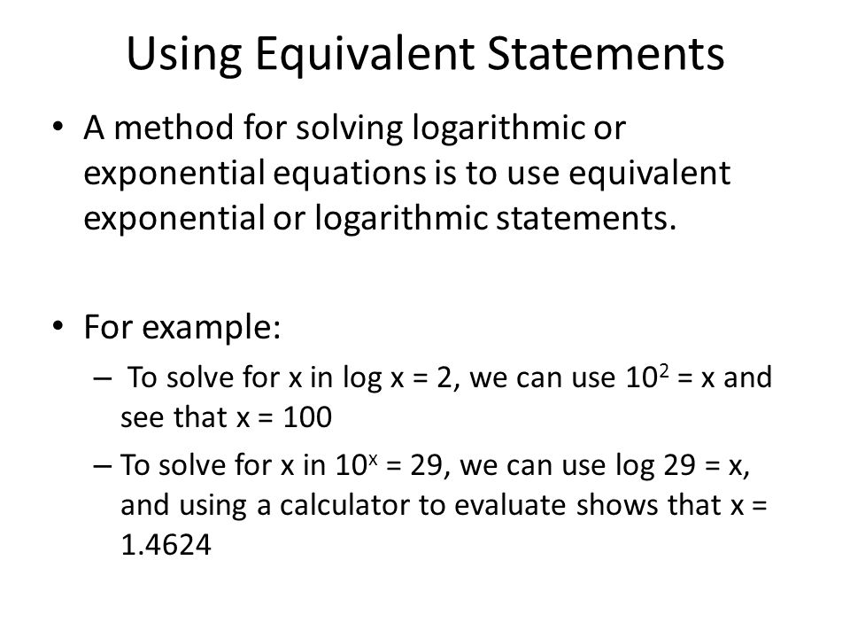 Using Equivalent Statements
