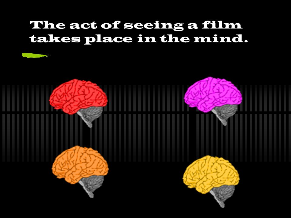The act of seeing a film takes place in the mind.