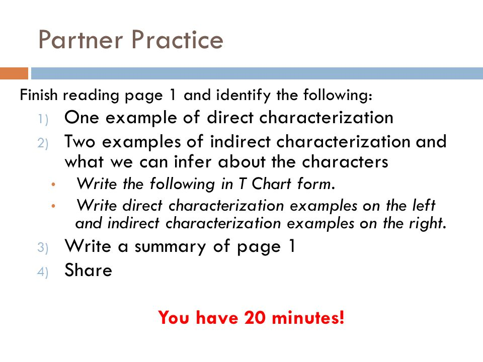 which of the following is an example of indirect characterization