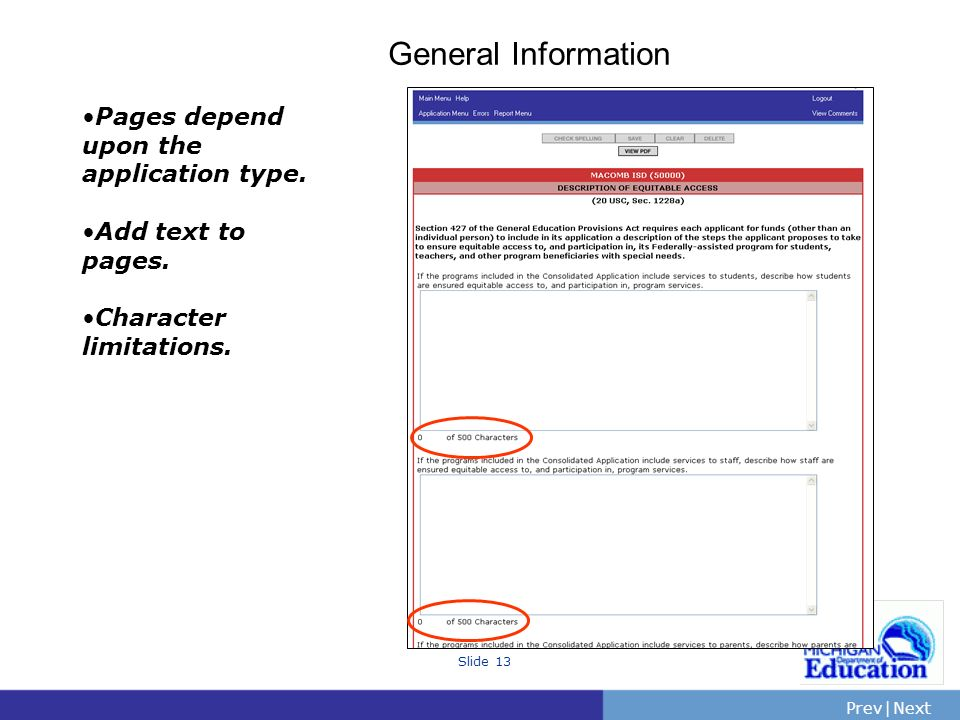 General Information Pages depend upon the application type.