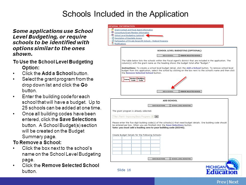 Schools Included in the Application