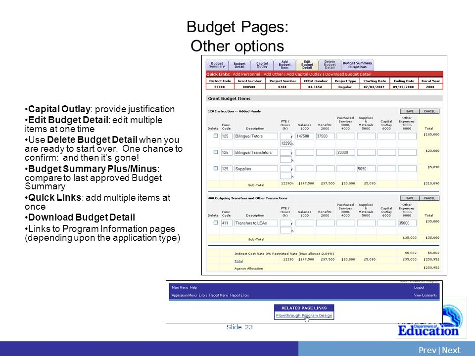 Budget Pages: Other options