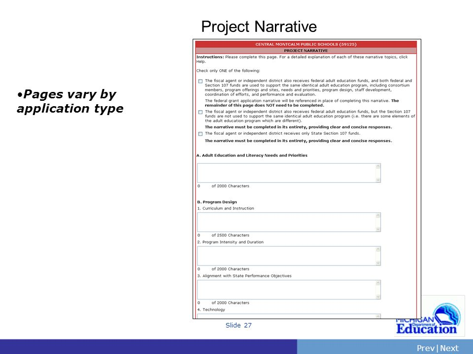 Project Narrative Pages vary by application type