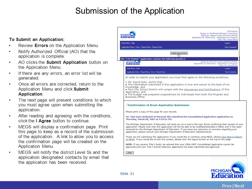 Submission of the Application