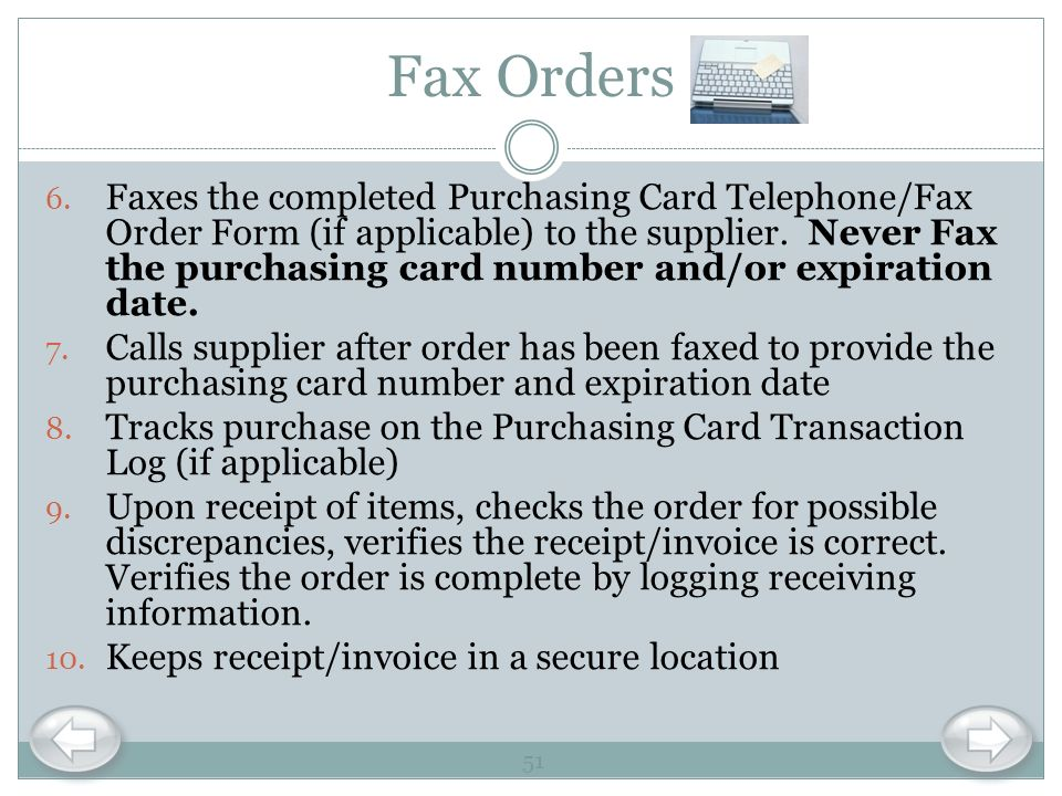 Fax Orders
