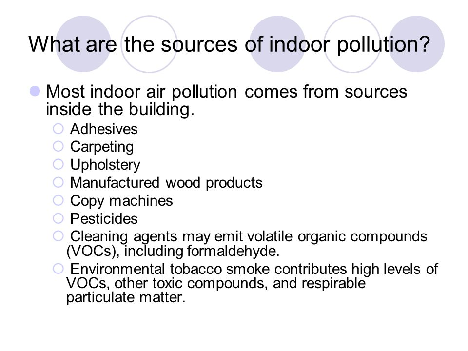 What are the sources of indoor pollution
