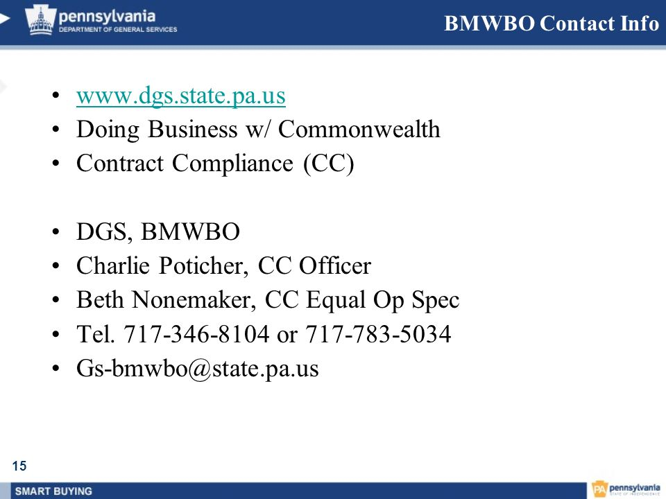 Doing Business w/ Commonwealth Contract Compliance (CC) DGS, BMWBO