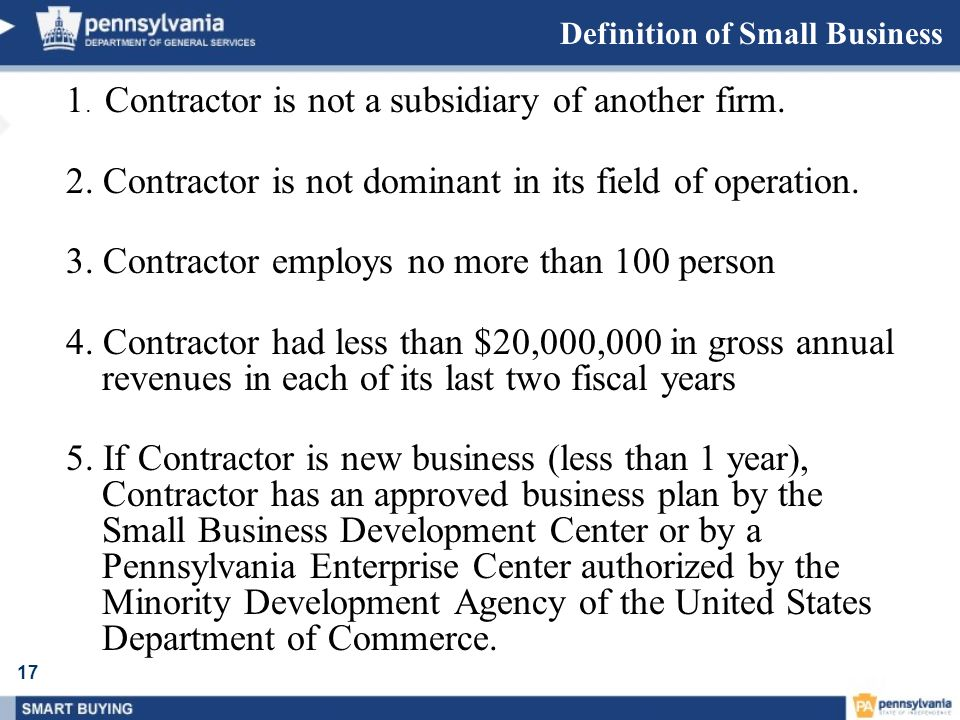 Definition of Small Business