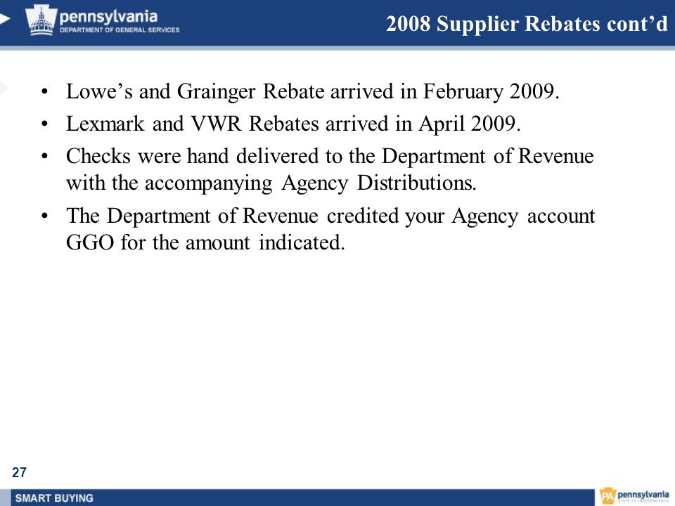 2008 Supplier Rebates cont'd