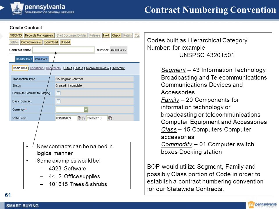 Contract Numbering Convention