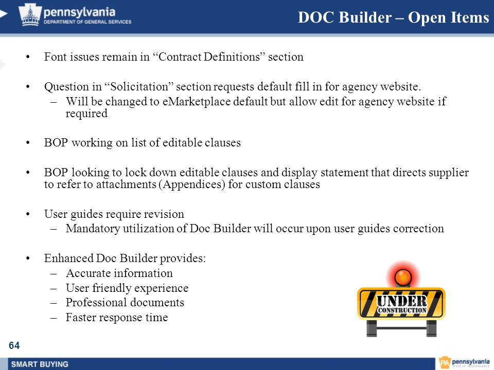 DOC Builder – Open Items