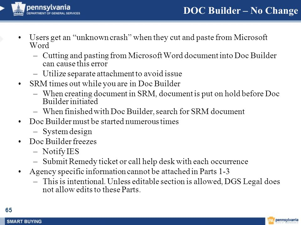 DOC Builder – No Change Users get an unknown crash when they cut and paste from Microsoft Word.