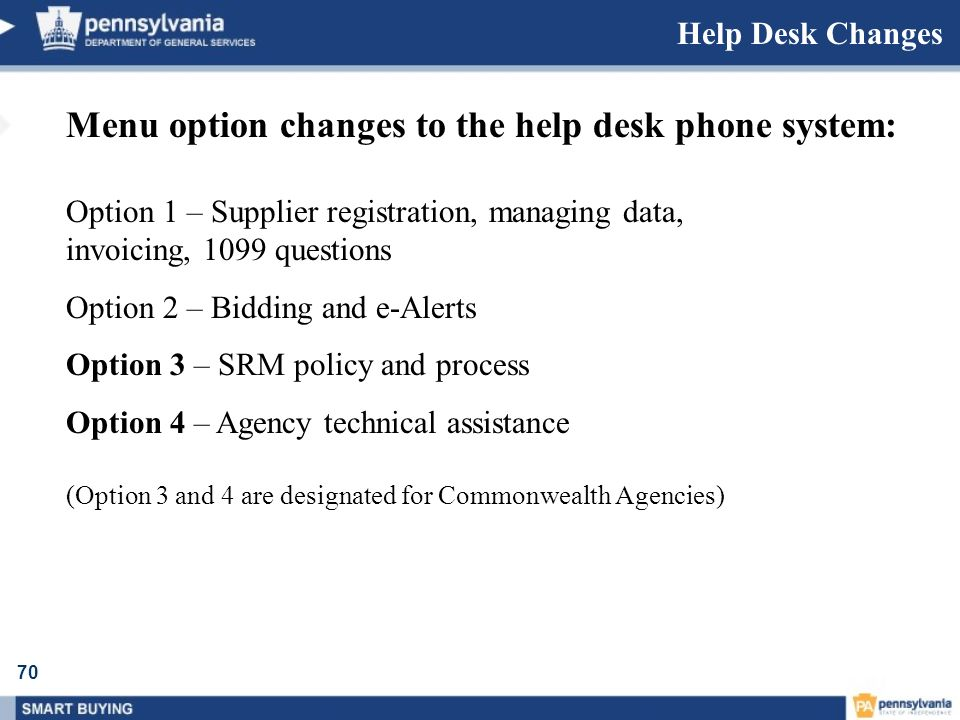 Menu option changes to the help desk phone system: