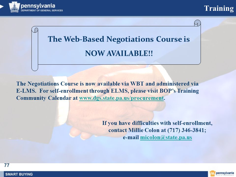 The Web-Based Negotiations Course is e-mail micolon@state.pa.us