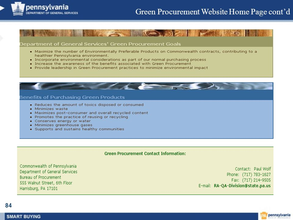 Green Procurement Website Home Page cont'd