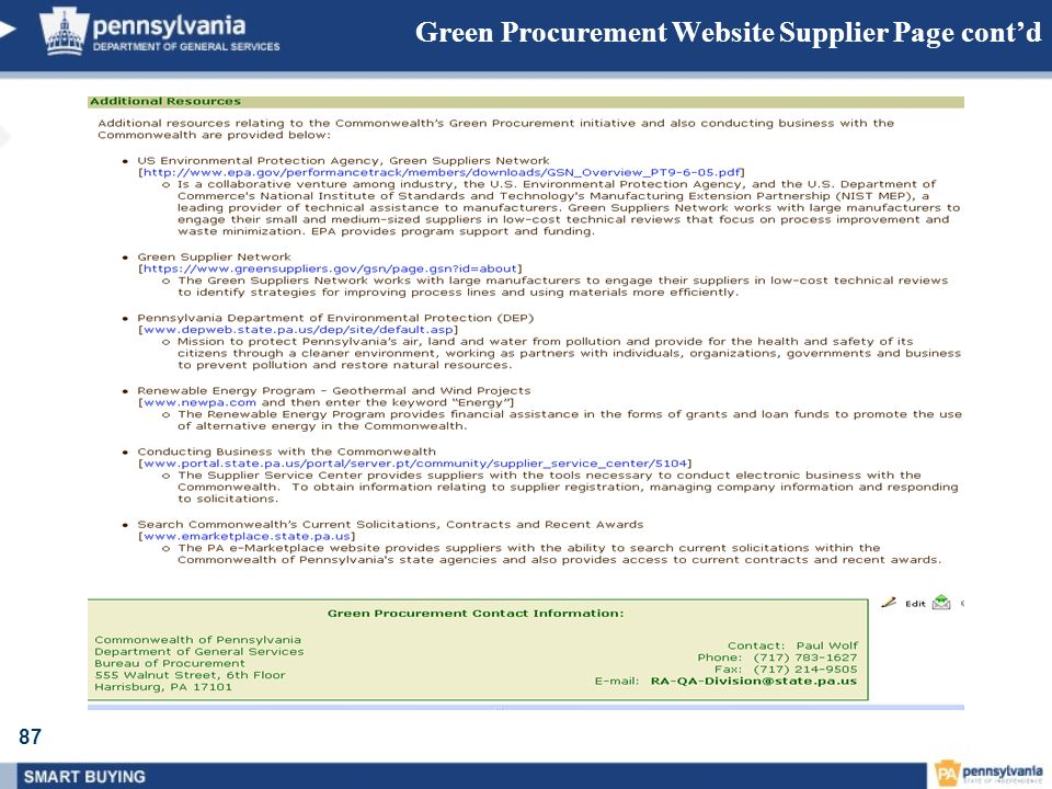 Green Procurement Website Supplier Page cont'd