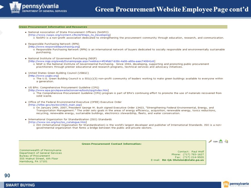Green Procurement Website Employee Page cont'd