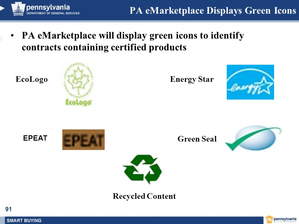 PA eMarketplace Displays Green Icons