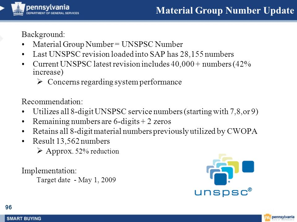 Material Group Number Update