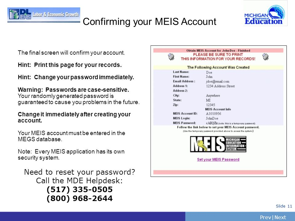 Confirming your MEIS Account