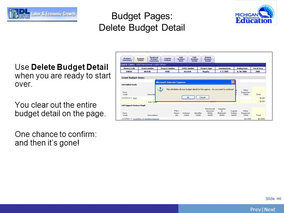 Budget Pages: Delete Budget Detail