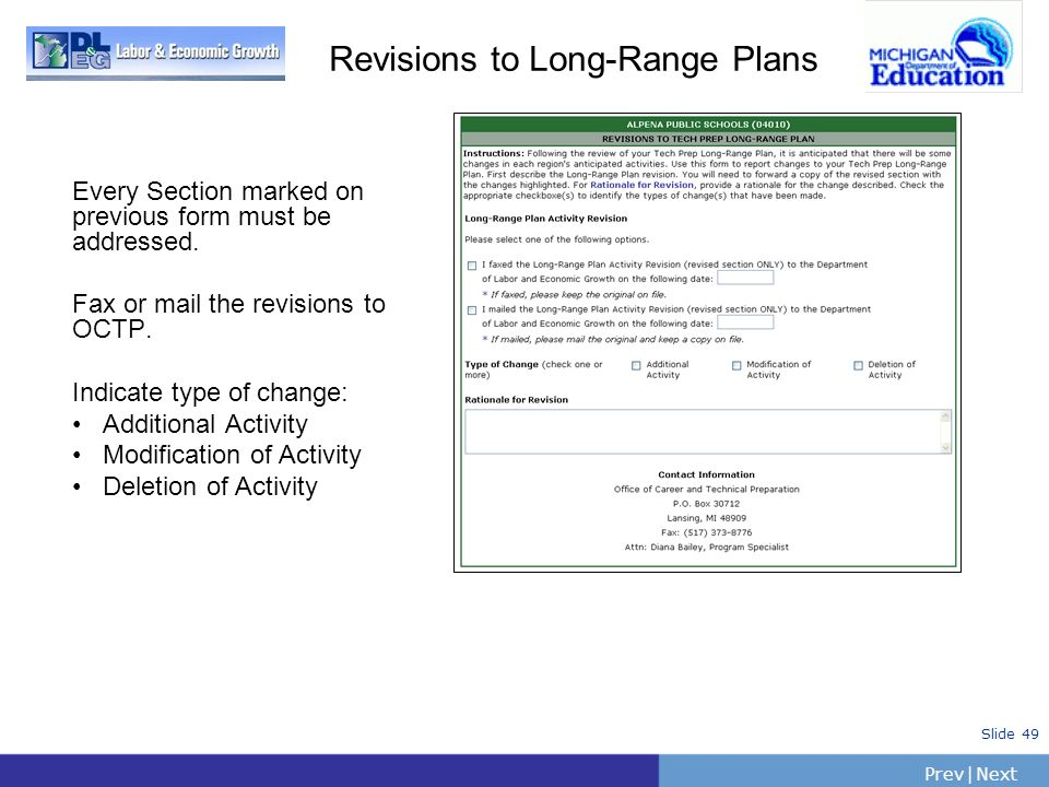 Revisions to Long-Range Plans