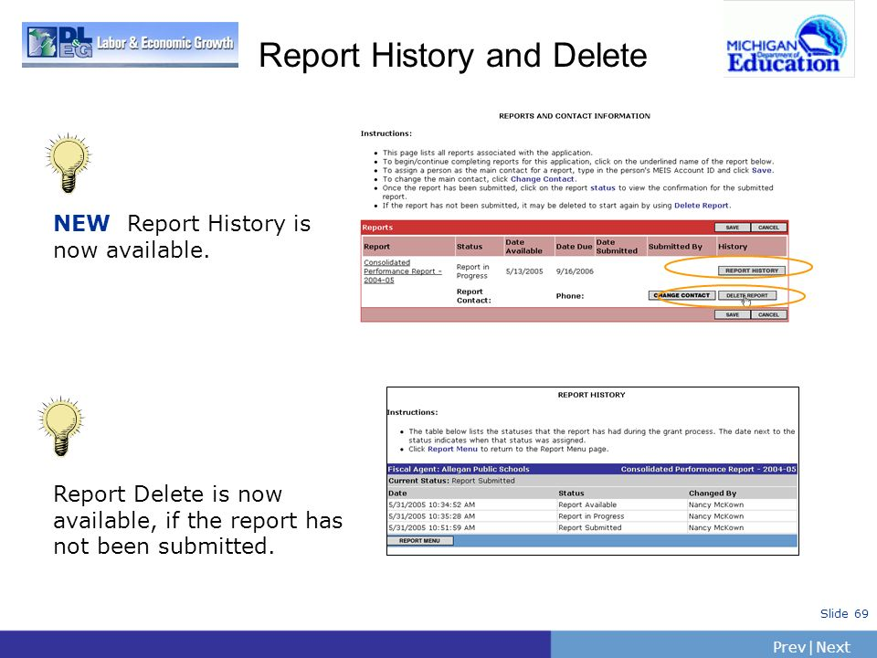 Report History and Delete