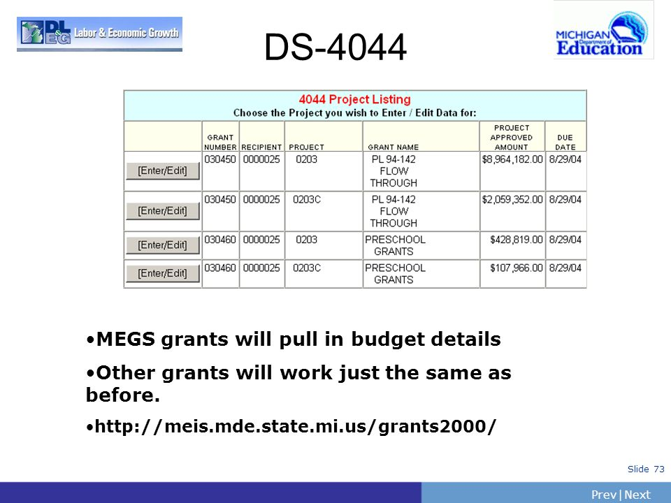DS-4044 MEGS grants will pull in budget details