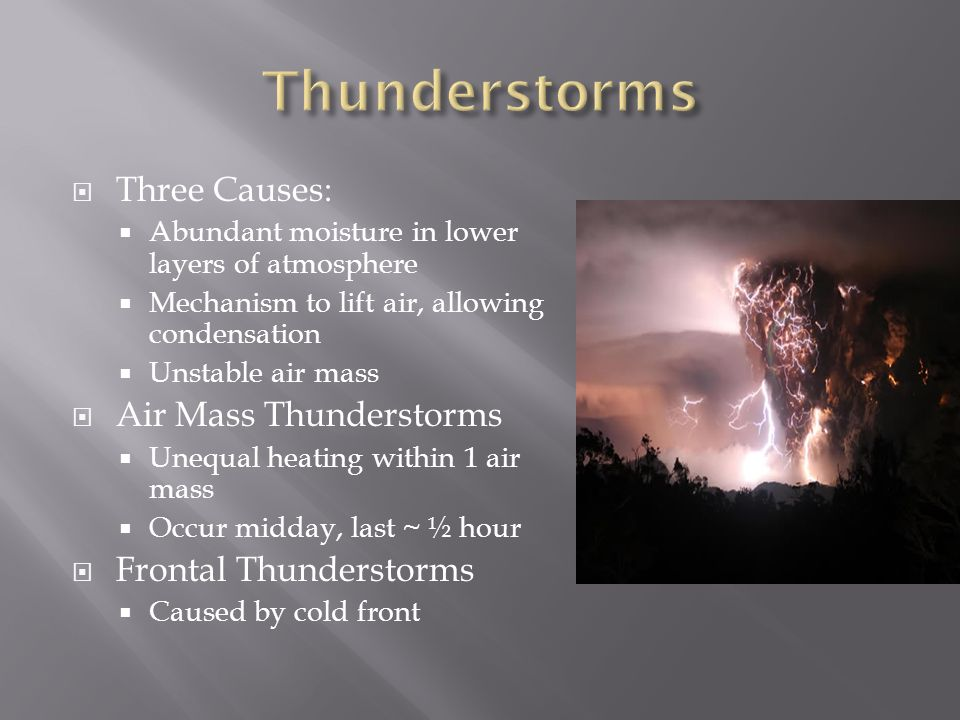 Thunderstorms Three Causes: Air Mass Thunderstorms