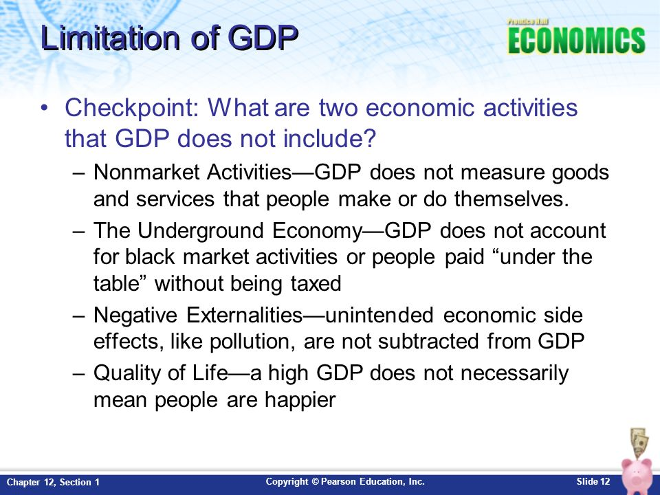 the benefits and limitations of gross domestic product Gross domestic product (gdp) is the broadest quantitative measure of a nation's total economic activity more specifically, gdp represents the monetary value of all goods and services produced within a nation's geographic borders over a specified period of time.