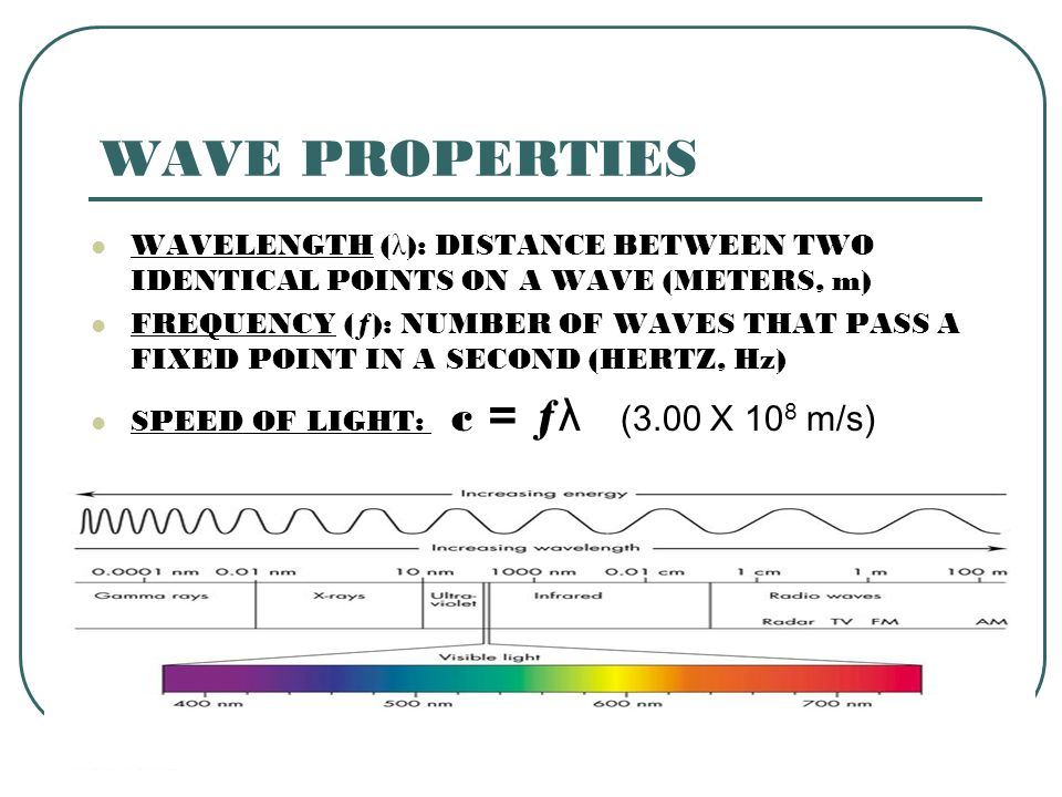 WAVE PROPERTIES WAVELENGTH (λ): DISTANCE BETWEEN TWO IDENTICAL POINTS ON A WAVE (METERS, m)