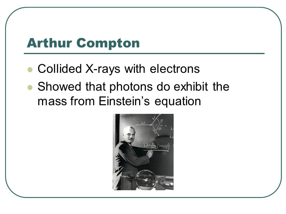 Arthur Compton Collided X-rays with electrons