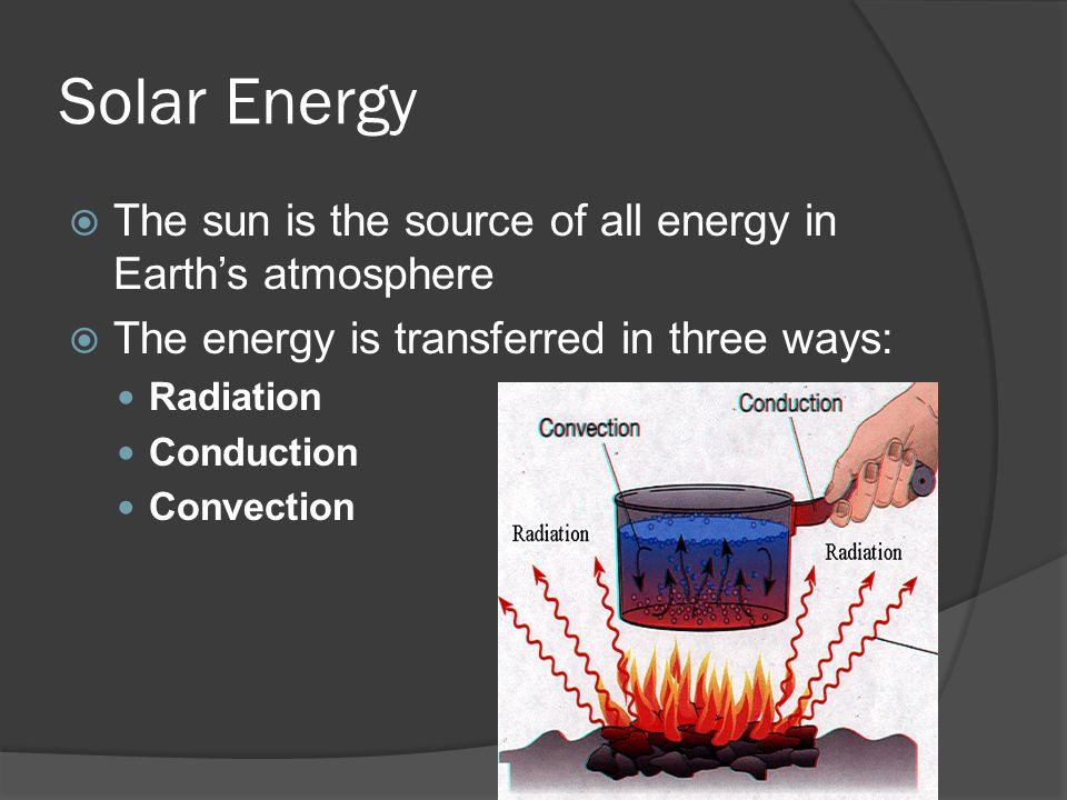 Solar Energy The sun is the source of all energy in Earth's atmosphere