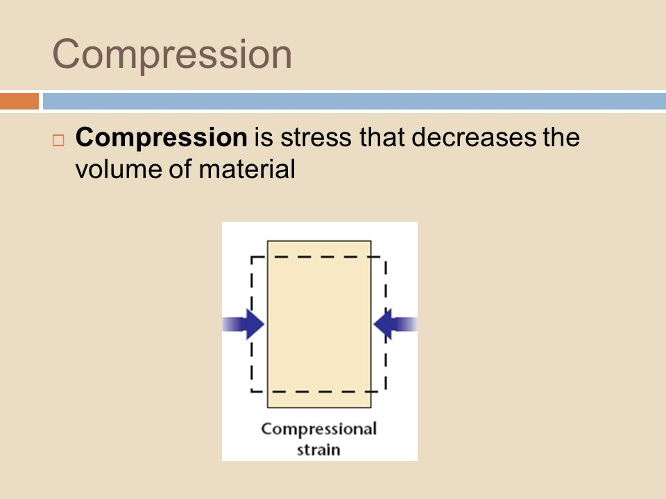 Compression Compression is stress that decreases the volume of material