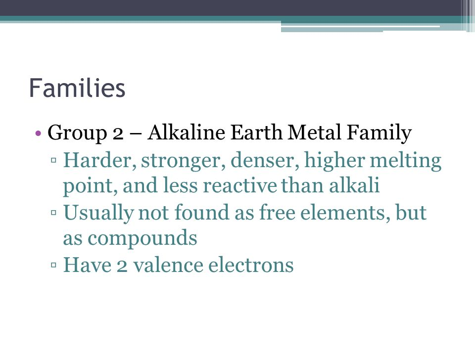 Families Group 2 – Alkaline Earth Metal Family