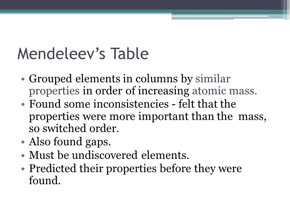 Mendeleev's Table Grouped elements in columns by similar properties in order of increasing atomic mass.