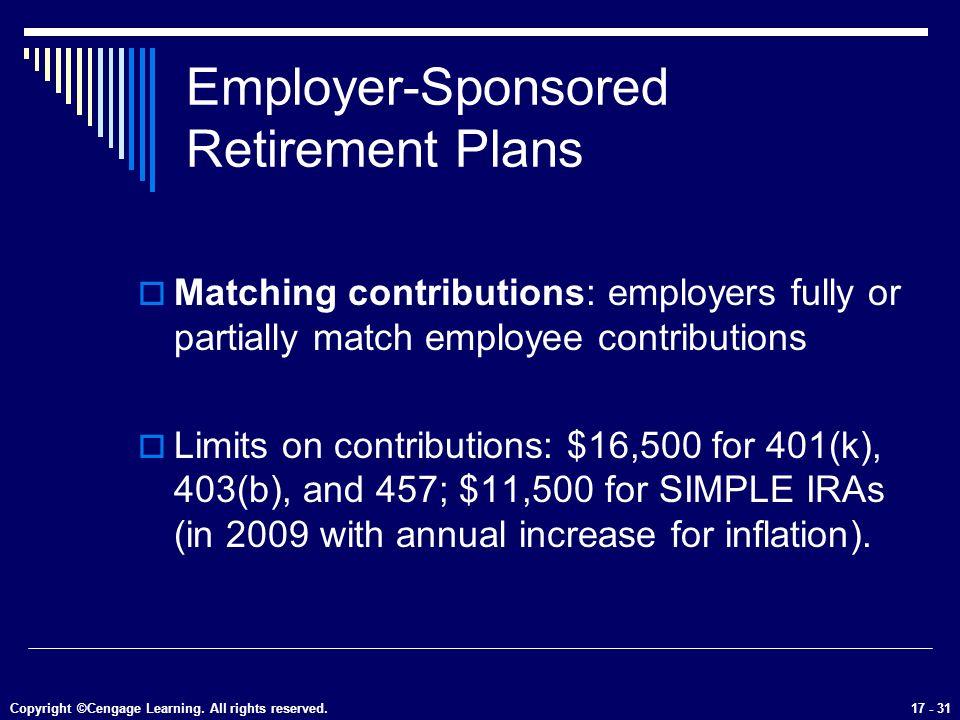 31 Employer Sponsored Retirement Plans