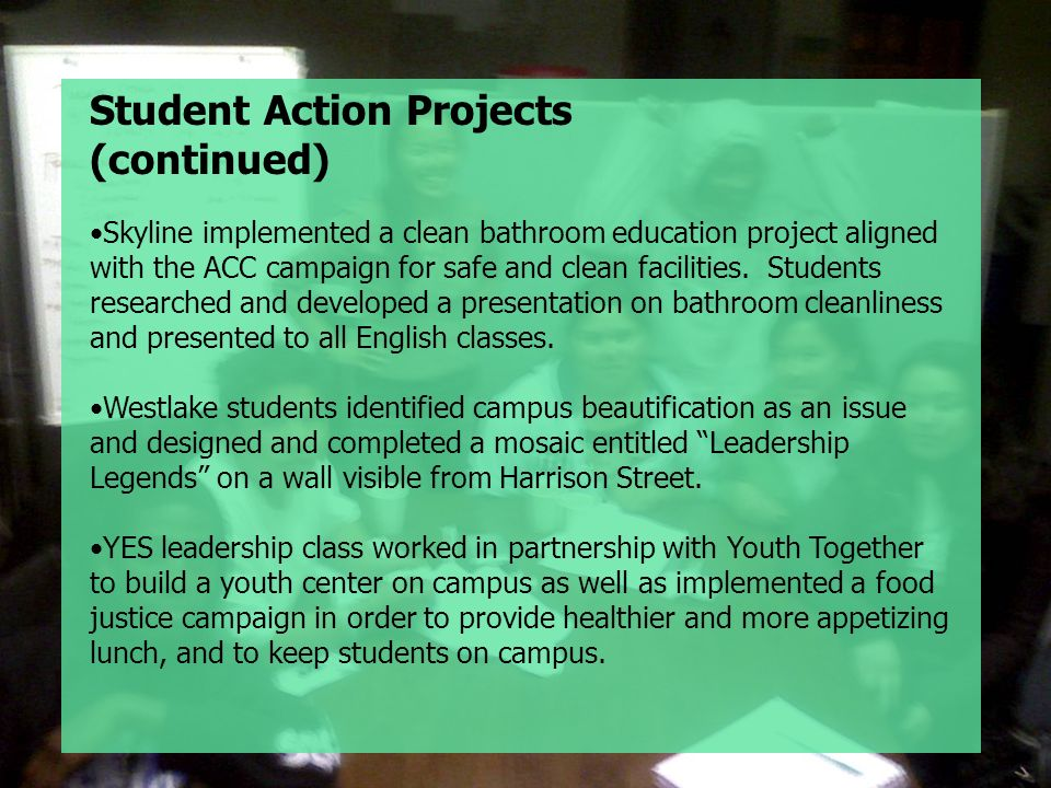 Student Action Projects (continued)