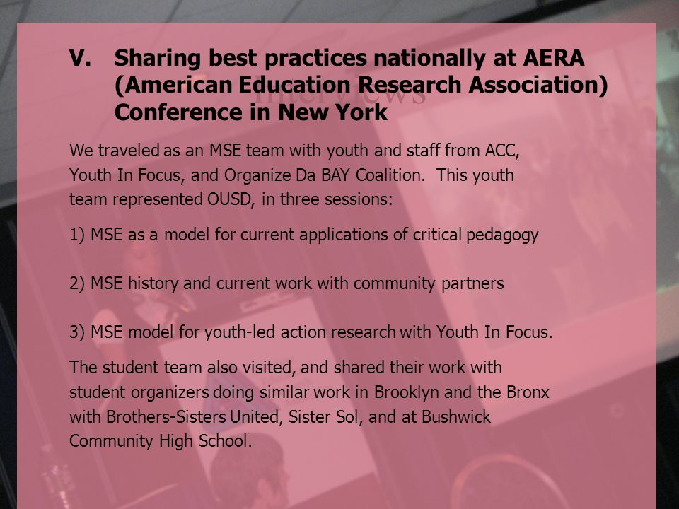 Sharing best practices nationally at AERA (American Education Research Association) Conference in New York